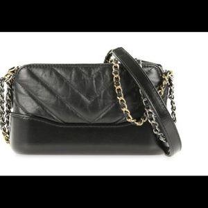 Chanel Gabrielle Chevron Black Clutch Chain Bag